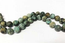 African Turquoise Matte Natural Big Hole Round Gemstone Beads