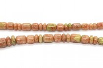 Mayflower Jasper (Natural) Graduated Tube and Rondelle Mixed Gemstone Beads