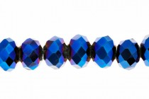 Blue Metallic Chinese Crystal Rondelle Glass Beads - opaque