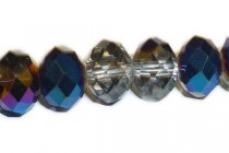 Blue Metallic / Clear Chinese Crystal Rondelle Glass Beads