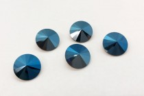 Metallic Blue 1122 Swarovski Crystal Elements Faceted Rivoli Rhinestone Foil Back