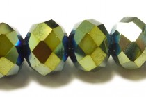 Blue Yellow Metallic Opaque Chinese Crystal Rondelle Glass Beads
