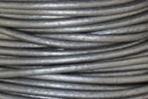 Greek Round Leather Cord - Metallic Gray