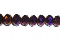 Purple Metallic Chinese Crystal Rondelle Glass Beads - Opaque