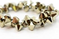 Metallic Light Gold 2x Swarovski Crystal Top Drilled Bicone Pendants 6301