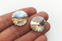 Crystal Moonlight 1122 Swarovski Crystal Elements Faceted Rivoli Rhinestone Foil Back