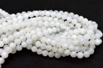 Rainbow Moonstone (Natural) AA Grade Smooth Round Gemstone Beads