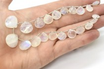 Rainbow Moonstone (Natural) Faceted Heart Shape Briolette Gemstone Beads- Graduated Size