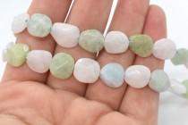 Morganite (Natural) Faceted Flat Nugget Gemstone Beads