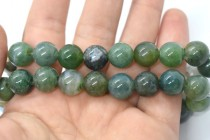 Moss Agate (Natural) Smooth Round Gemstone Beads - Large Hole