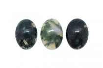 Moss Agate (Natural) Oval Flat Back Gemstone Cabochon