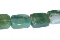 Moss Agate (Natural) Flat Rectangle Gemstone Beads