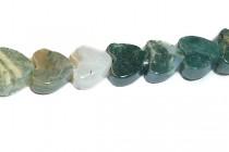 Moss Agate (Natural) Heart Gemstone Beads