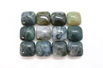 Moss Agate (Natural) Pillow/Square Gemstone Beads
