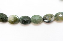 Moss Agate (Natural) Faceted Flat Oval Gemstone Beads
