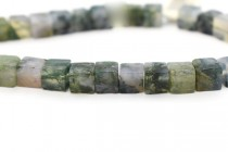 Moss Agate (Natural) Cube Gemstone Beads