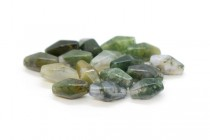 Moss Agate (Natural) Six Sided Double Cone Gemstone Beads