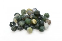 Moss Agate ( Natural ) A grade Big Hole Six Sided Drum Gemstone Beads