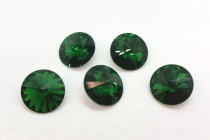 Dark Moss Green 1122 Swarovski Crystal Elements Faceted Rivoli Rhinestone Foil Back