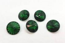 Dark Moss Green 1122 Swarovski Crystal Elements Faceted Rivoli Rhinestone Foil Back
