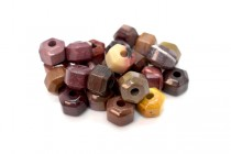 Mookaite (Natural) Six Sided Drum Gemstone Beads - Large Hole