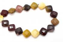 Mookaite (Natural) Faceted Pillow/Square Gemstone Beads - Diagonally Drilled
