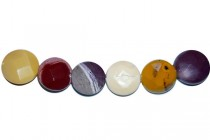 Mookaite (Natural) Faceted Coin Gemstone Beads with Rounded Edges