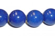 Mountain Jade (Dyed) Smooth Round Stone Beads - Cobalt Blue