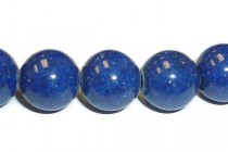 Mountain Jade (Dyed) Smooth Round Stone Beads - Lapis Blue