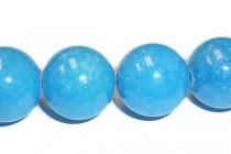 Mountain Jade (Dyed) Smooth Round Stone Beads - Sky Blue
