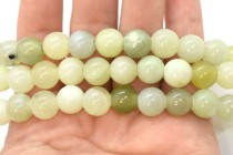 Serpentine/New Jade (Natural) Smooth Round Gemstone Beads - Large Hole