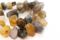 Botswana Agate ( Natural ) A Grade Faceted Nugget Gemstone Beads
