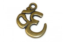 Antique Brass Plated Om Symbol Pendant - TierraCast®