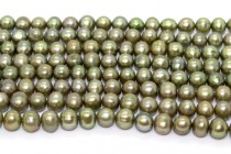 Almost Round Freshwater Pearls - Olive Green - A Grade