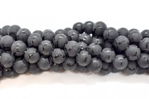 Black Onyx (Dyed) Smooth Round Beads with Matte and Polished Pattern