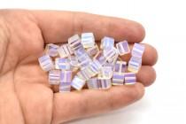Opalite (Man Made) Sea Glass Cube Beads