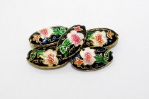 Enamel Black Floral Beads - Oval