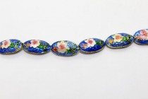 Blue Floral Cloisonne Beads - Oval/Seed Shaped CL-13