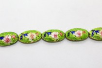Enamel Lime Green Floral - Oval
