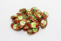 Red Floral Cloisonne Beads - Oval/Seed Shaped CL-17