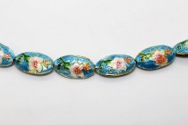 Aqua Blue Floral Cloisonne Beads - Oval/Seed Shaped CL-18