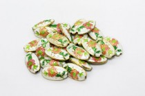 White Floral Cloisonne Beads - Oval/Seed Shaped CL-19