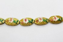 Yellow Floral Cloisonne Beads - Oval/Seed Shaped CL-14