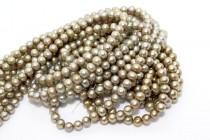 Almost Round / Potato Freshwater Pearls - Pale Green - A Grade