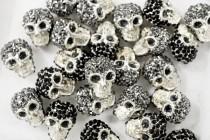 Black Crystal Silver Plate Pave Skull Bead