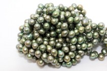 Iridescent Green (Dyed) Top Drilled Teardrop Freshwater Pearl Beads