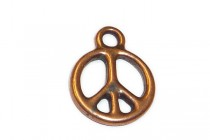 Charm, Peace, TierraCast®: ,Antique Copper - plated pewter (tin-based alloy), 5/8