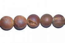 Druzy Agate ( Coated ) Opaque Peach Matte / Frosted Round Gemstone Beads