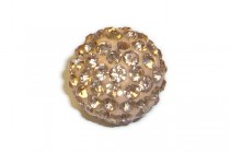 Peach / Light Orange Chinese Crystal Pave Round Bead