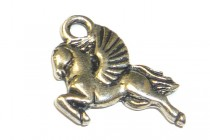 Charm, Pegasus , TierraCast®: , Antique Silver - plated pewter (tin-based alloy),